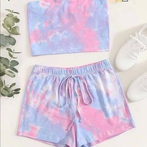 Pants - tie dye shorts set